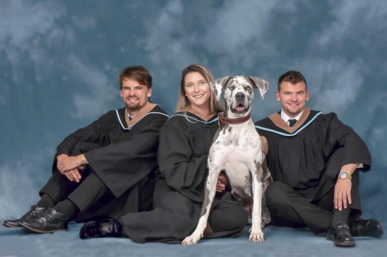 Graduation photo Saint Mary's University with family dog